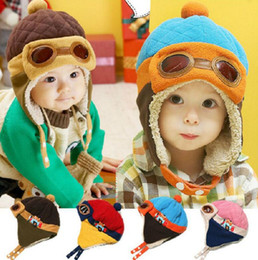 Wholesale boys pilot hat - 4 Colors Toddlers Winter Baby Earflap Toddler Girl Boy Kids Pilot Aviator Cap Warm Soft Beanie Hat Ear Flap Soft Hat KKA2514