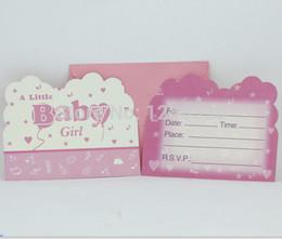 großhandel neugeborene baby liefert Rabatt Großhandels-12PC / Lot Umhüllen Form-Rosa-Baby-Mädchen-Thema-Geburtstags-Einladungs-Party-Karte neugeborenes Baby Shower Party Supplies