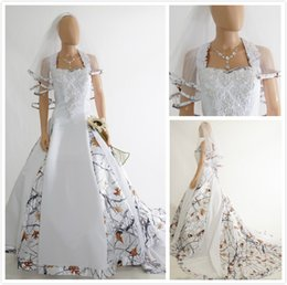 Wholesale Red Wedding Gowns Online - Modest White Camouflage Wedding Dresses Tree Print A Line Halter Satin Chapel Train Camo Wedding Gowns Bridal Dress Custom Made Online