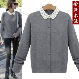 Wholesale Two Color Cardigan Sweater - Wholesale- Discount woman sweater Gold wood polka dot peter pan collar faux two piece sweater cardigan female sweater outerwear