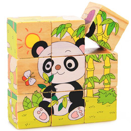 Wholesale Panda Jigsaw - 9pcs set 3D Animal Wooden Puzzle Education Learning Tools Toys Baby Six Sides Panda Hexahedral Jigsaw Puzzle