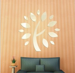 Wholesale Green Leaf Sticker - Hot home decoration tree leaf mirror silver gold waterproof wall stickers mural new 2016 European and American fashion