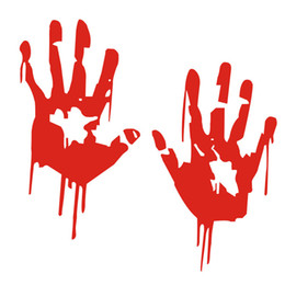 Wholesale Cartoon Hand Mirror - Zombie Bloody Hands Print Fun Vinyl Car Sticker Motorcycle Window Decal Accessories Red