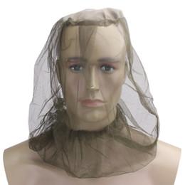 Mosquiteiros on-line-Pesca Caça Malha Máscara Facial Midge Mosquito Inseto Chapéu Bug Mesh Head Rosto Líquido Protetor de Viagem Camping Kit de Viagem 2 pcs