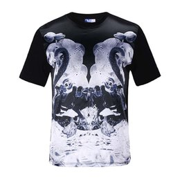 Wholesale Film Tee Shirts - tshirt New Fashion men's hip hop t-shirt 3d print black and white film swan casual short sleeve glossy rayon tops tees