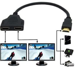 Wholesale Tv Audio Out Splitter - wholesale 1000pcs lot 2Port HDMI Splitter 1 In 2 Out Male to Femal Video Cable Adapter Switch Converter For Audio TV DVD