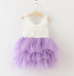 Wholesale Wholesale Purple Gowns - Girls party dresse summer new children beaded lace vest tulle tutu dress girls back V-neck tiered tulle cake dress kids princess dress A9983