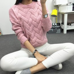 Wholesale Plaid Mohair - Autumn Winter Women Sweaters And Pullovers Plaid Thick Knitting Mohair Sweater Female Loose Sweaters