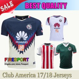 Wholesale Home Soccer Jersey - New Arrived Club America 2017 Soccer Jerseys Home Red Black away TOP QUALITY 17 18 R.SAMBUEZA P.AGUILAR O.Peralta Football Shirts