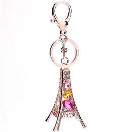 Wholesale Eiffel Torre - Torre Eiffel Tower Keychain For Keys Souvenirs Paris Tour Eiffel Rhinestone Keychain Crystal Key Chain Key Ring Decoration Key Holder