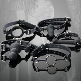 Wholesale Harness Gagged Women - PU Leather Silicone Open Mouth Gag , O Ring Gag , Head Harness Mouth Gagged , Sex Toys For Women