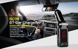 Wholesale Branded Usb Cards - Handsfree Wireless Car Bluetooth Kit Car Charger Dual USB Port 5V 2A LCD MP3 Player U Disk FM Transmitter For Iphone7 6 6plus Galaxy Note7