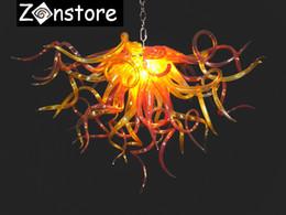 cristales de araña naranja Rebajas Orange Love Chandelier- Small Colgante Chandelier Chain Murano Art Glass LED Araña de cristal decorativa y lámparas colgantes