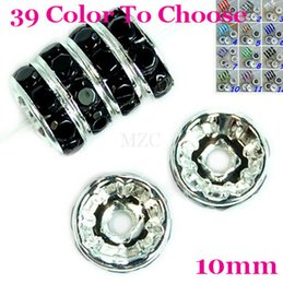 Wholesale Spacer Bead Charms - ashion Jewelry Beads Hot!10mm!Free Shipping Gift.Black Crystal Rhinestone Rondelle Spacer, Silver Plated DIY Loose Beads Fit Charm Bracel...