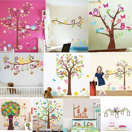 Wholesale Europe Owl - 100pcs ZY 1001 1004 1006 1007 1008 1011 1015 1018 1019 1021 owl wall art for kids room wall decals sticker decoration animal wall stickers