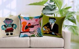 Wholesale Square Guitar Case - Cartoon animal fun role-playing musician emoji massager pillow decorative pillows case home decor guitar drum music funs