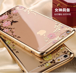 Wholesale Clear Flower Iphone Case - The secret garden Flora Diamond phone case for Apple iphone6 6s 6plus 6s plus Chic Flower Bling soft TPU Clear phone back cover