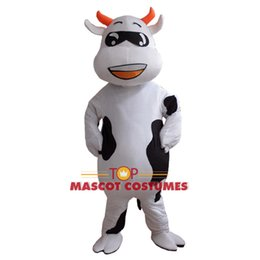 Wholesale Cow Cartoon Costume - Wholesale-New Hot ! Professional Farm Dairy Cow Mascot costumes Cartoon Fancy Dress Free Shipping