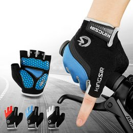 Wholesale Short Finger Bike Gloves - High End Breathable Cycling Gloves Bike Bicycle Riding Half Short Finger Gloves Outdoor Shockproof Fitness Gym Sports GEL Anti-slip 3 Colors