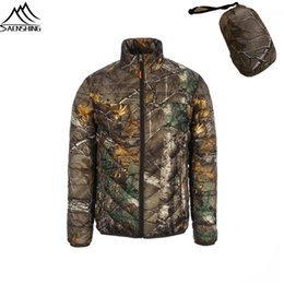 Wholesale Camouflage Waterproof Hunting Jacket - Wholesale- Camouflage Hunting Jacket Men Duck Down & Parka 2016 Men's Winter fishing jacket waterproof Warm Sport Outdoor Hunting Clothes