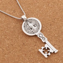 Wholesale Religious Key Chains - 20pcs lot Saint Benedict Medal Cross Smqlivb Key Religious Pendant Necklaces 24 inches Antique Silver Chains N1684 25x59mm