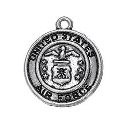 Wholesale united forces - My Shape Military Zinc Alloy Antique Silver Plated Round United States Air Force Charms Wholesale Fashion Jewelry Series