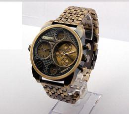 Wholesale Antique Military Buckles - Best Luxury Brand Watches Men Full Steel Watch Golden Two time Antique Male Casual Sport Watches Military Wristwatch Quartz movement