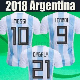 Wholesale Argentina Messi Jersey - 2018 Argentina jersey World Cup soccer Jerseys MESSI DI MARIA DYBALA AGUERO HIGUAIN ICARDI Russia Camisetas top thai football shirt Uniform