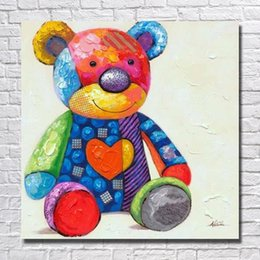 Wholesale Child Cartoon Picture Frame Paintings - Free shipping hand painted cartoon bear toy oil painting picture without frame for young children living room decoration