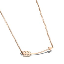 Wholesale American Earth - The new earth Rose Gold Pendant clavicular Necklace Titanium Necklace Gift arrow MS N1032