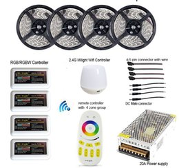 Wholesale Led Rf Strip - Best price RGBW RGBWW RGB 20M 5050 Mi Light WIFI Led Strip Waterproof Dimmable 12V 24V+4pcs Controller + RF Remote + Power Supply With Plug