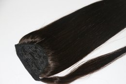 """Wholesale natural hair ponytail piece - 18"""" 20"""" 22"""" Clip In Ponytail Human Hair Extensions Wrap Around Ponytail Hair Pieces Color #1,#1B,#2"""