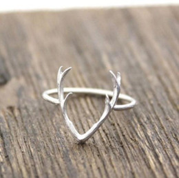 Wholesale Cute Simple Rings - Women's Fashion Simple Antler Shape Adjustable Size Ring Jewelry Cute Animal Decoration Christmas Gift Ladies Accessories Gold Silver