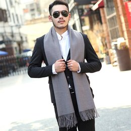 Wholesale Large Knit Scarf - Wholesale- Men Scarf Winter Cashmere Fashion Solid Color Wool Scarves Extra Large For Men And Women Knit Shawl Tassel Wrap Xmas Present