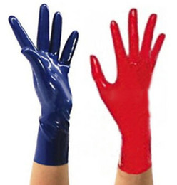 Wholesale Sexy Black Glove - Wholesale-2016 New Arrive Top Fashion Latex Gloves Sexy Lingerie Dress Rubber Wrist Gloves Women Zentai Fetish Short Hot Sale