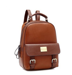 Wholesale Vintage Hiking Backpacks - Women'S Business Vintage Leather Laptop Backpack Rucksack School Travel Hiking Bag Famous Designer Brand Classic Solid Backpack