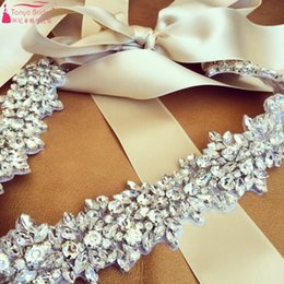 Wholesale Diamond Bridal Belts - Real Wedding Belts Bridal Wedding Jewelry Accessories Handmade Crystal Diamond Girdle Belt European Jewelry Bling Bling Real Photos