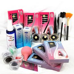 Wholesale Eyelash Extension Kit Case - New Pro Hight Quality Hot Style False Eyelash Eye Lash Extension Kit Glue Gift Full Set With Case Makeup Tool