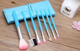 Wholesale Eye Shadow Sponge Brush - 10 lots Makeup Brushes Make Up Brush Set Kits Eyelash Brush Blush Brush Eye-shadow Brush Sponge Sumudger 7pieces Make Up Tools PU Bag