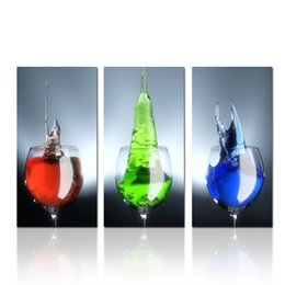 Wholesale Canvas Paintings Wine Glasses - 3 Panel Wine Glass With Colorful Beverage Wall Art Print Canvas Dropship Print Home Decor For Living Room and Bedroom Decor Home Decoration