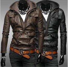 Wholesale Men Leather Hooded Jacket Coat - Winter New Korean men's casual leather jackets, Slim short Hooded Coats multi-pocket men leather clothing Y26