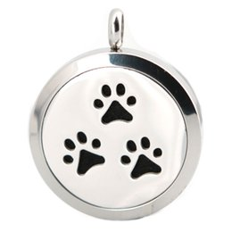Wholesale Dog Magnets - 1pcs magnet dog paw Aromatherapy Essential Oil surgical Stainless Steel Perfume Diffuser Locket Necklace with chain and felt pads