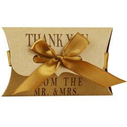 Wholesale Kraft Pillow - Candy Box High Quality Kraft Paper Pillow Shape European Gift Box Cardboard Beautiful Gift Craft For Wedding Ceremony
