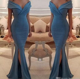 Wholesale Ocean Blue Gowns - Chic Buttons Split Ocean Blue Prom Dresses 2018 New Arrival Elegant Off Shoulders V Neck Mermaid Party Wears Gowns Celebrity Evening Dress