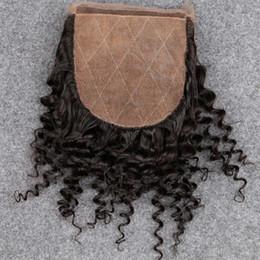 Encerramento de seda curly kinky mongolian on-line-Slove Novo !! 7A Não Transformados Virgem Mongolian afro kinky Encaracolado Base de Seda Encerramento Barato Cabelo Humano afro Encerramento 4x4 Top De Seda Lace Fechamento