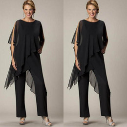 Wholesale Modest Suits - 2016 Newest Mother of the Bride Pant Sutis Black Chiffon Bateau Neck Asymmetrical Wrap Style Modest Mother's Suit for Weddings Custom Made