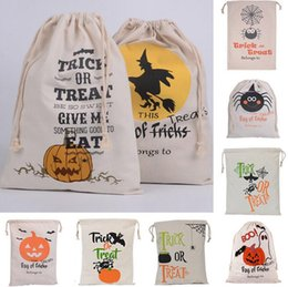 Wholesale Beam Decorations - Halloween Pumpkin Canvas Bags Beam Port Drawstring Sack Candy Gift Bags Tricks Festival Party Decoration 7 Styles OOA2478
