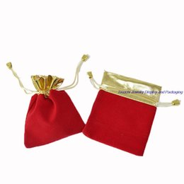 Wholesale Small Velvet Jewelry Pouches - 100pcs Small Red Velvet Jewelry Pouch, Gift Packaging Bags Gold Organizer 7*9CM