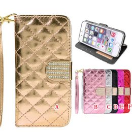 Wholesale Soft Silicone Handbag For Iphone - Bling Sheep Diamond Wallet Leather Pouch Case For Iphone 8 7 I7 6 6S Plus Iphone7 Credit Card Slot Holder Stand TPU Soft Phone Cover Luxury