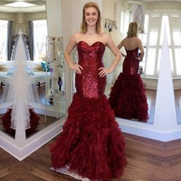 Wholesale Sweetheart Sparkly Prom - Sparkly Sequined Mermaid Prom Dresses Long Sweetheart Ruffles Plus Size Formal Evening Gowns Burgundy Prom Party Dress